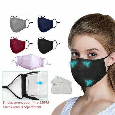 Masque de protection tissu avec emplacement filtre