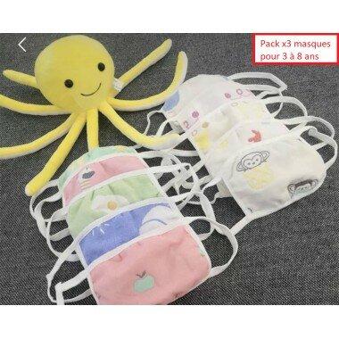 """Pack x3 masques enfants lavables """"Pastel"""""""